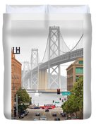 San Francisco Bay Bridge And Bay Quackers Duvet Cover