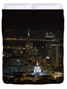 San Francisco Cityscape With City Hall At Night Duvet Cover