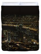 San Francisco Cityscape With Oakland Bay Bridge At Night Duvet Cover