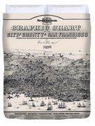 San Francisco Graphic Map 1875 Duvet Cover