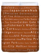San Francisco In Words Toffee Duvet Cover