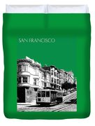 San Francisco Skyline Cable Car 2 - Forest Green Duvet Cover