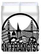 San Francisco Skyline Golden Gate Bridge Black And White Illustr Duvet Cover