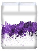 San Francisco Skyline In Purple Watercolor On White Background Duvet Cover