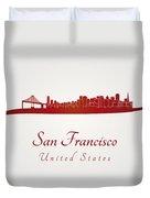 San Francisco Skyline In Red Duvet Cover