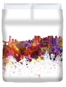 San Francisco Skyline In Watercolor On White Background Duvet Cover