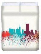 San Francisco Skyline Paint Duvet Cover