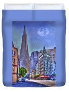 San Francisco Transamerica Pyramid And Columbus Tower View From North Beach Duvet Cover