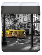 San Francisco Vintage Streetcar On Market Street - 5d19798 - Black And White And Yellow Duvet Cover