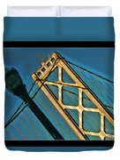 San Francisico Bay Bridge And Light Duvet Cover