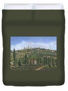 San Gimignano Tuscany Duvet Cover by Richard Harpum
