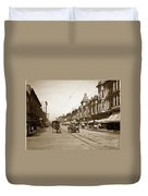 94-095-0001 Early Knox Automobile First Street San Jose California Circa 1905 Duvet Cover