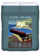 San Juan National Historic Site Vintage Poster Duvet Cover