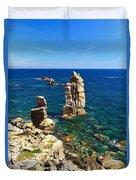 San Pietro Island - Le Colonne Cliff Duvet Cover