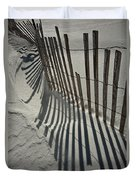 Sand Fence During Winter On The Beach Duvet Cover