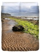 Sand Patterns On Robin Hoods Bay Beach Duvet Cover