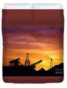 Sand Pit Silhouette  Sunset With Red And Yellow Sky Duvet Cover