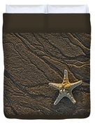 Sand Prints And Starfish  Duvet Cover