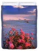 Sand Verbenas At Sunset White Sands National Monument Duvet Cover