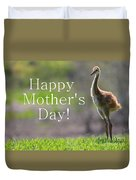 Sandhill Chick Mother's Day Card Duvet Cover