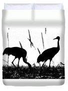 Sandhill Cranes In Silhouette Duvet Cover
