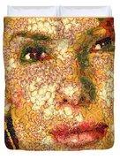 Sandra Bullock In The Way Of Arcimboldo Duvet Cover