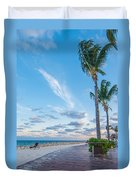 Sandy Beach And Beautiful Clouds  Duvet Cover