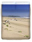 Sandy Beach On Pacific Ocean In Canada Duvet Cover