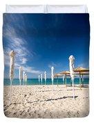 Sandy Beach Umbrellas Duvet Cover