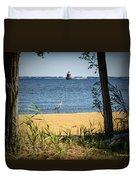 Sandy Pt Shoal Lighthouse And Blue Heron Duvet Cover