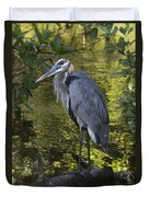 Sanibel Great Blue Heron Duvet Cover