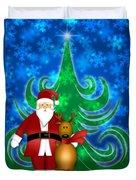Santa And Reindeer In Winter Snow Scene Duvet Cover