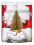 Santa Claus Holding Christmas Tree Duvet Cover