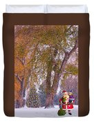 Santa Claus In The Snow Duvet Cover