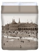 Santa Cruz Beach From Pleasure Pier  California Circa 1908 Duvet Cover