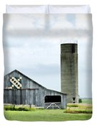 Santa Fe Wagon Tracks Quilt Barn Duvet Cover by Cricket Hackmann