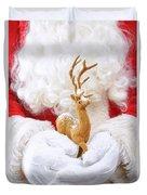 Santa Holding Reindeer Figure Duvet Cover