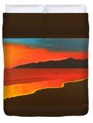 Santa Monica Beach And Mountains Duvet Cover