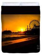 Santa Monica Pier California Sunset Photo Duvet Cover