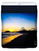 Santa Monica Pier Pacific Ocean Sunset Duvet Cover by Paul Velgos