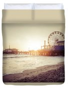 Santa Monica Pier Retro Sunset Picture Duvet Cover