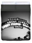 Santa Monica Pier Sign In Black And White Duvet Cover by Paul Velgos