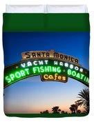 Santa Monica Pier Sign Duvet Cover by Paul Velgos