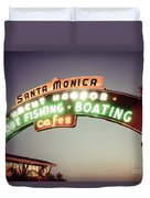 Santa Monica Pier Sign Retro Photo Duvet Cover