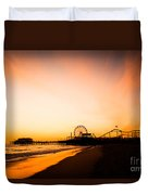 Santa Monica Pier Sunset Southern California Duvet Cover by Paul Velgos