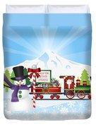 Santa On Train With Snow Scene Duvet Cover