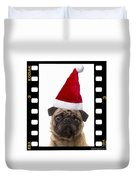 Santa Pug - Canine Christmas Duvet Cover by Edward Fielding