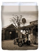 Santa Ynes Gas Station    Sepia Duvet Cover