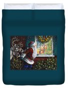 Santa's At The Window Duvet Cover
