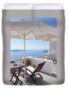 Santorini Balcony  Duvet Cover